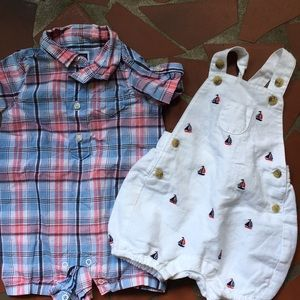 Janie and Jack set Of 2 rompers 0-3 months